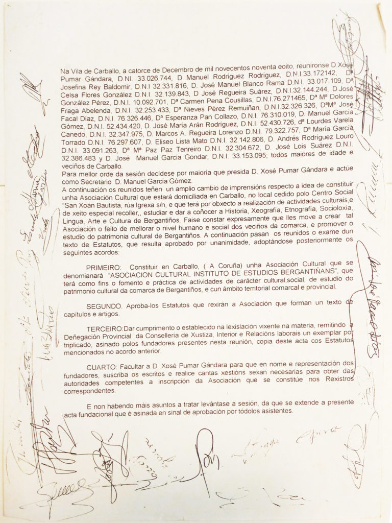 Acta fundacional do IEB